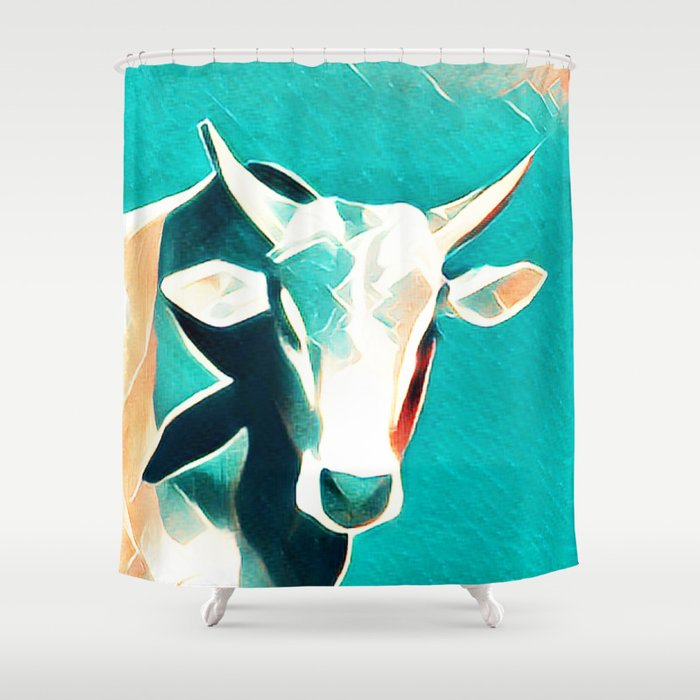 Blue Sky Cow Shower Curtain By Tecklito