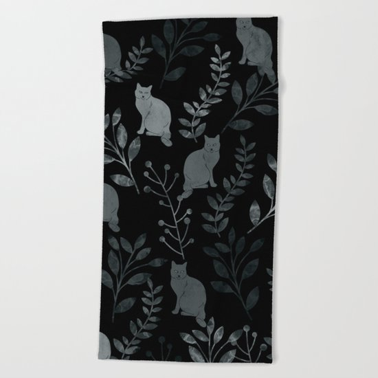 Watercolor Floral and Cat III Beach Towel