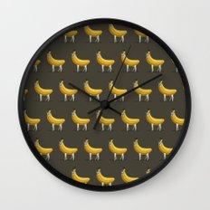 Bananas About Llamas Pattern Wall Clock
