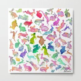 Watercolour Bunnies Metal Print
