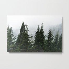 Wanderlust Forest V - Mountain Adventure in Foggy Woods Metal Print