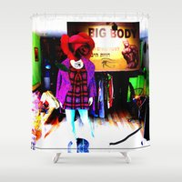 shopping Shower Curtains featuring Window Shopping by Khana's Web