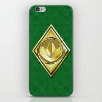 power ranger iPhone & iPod Skins featuring Green Ranger by Joshua Epling