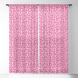 Leopard Print in Pastel Pink, Hot Pink and Fuchsia Sheer Curtain