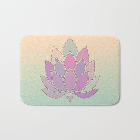 Lotus Flower Pastel Meditation Yoga Symbol Bath Mat
