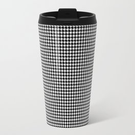 Classic Vintage Black and White Houndstooth Pattern Travel Mug