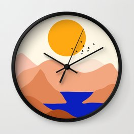 Sunset Over The Mountains Wall Clock