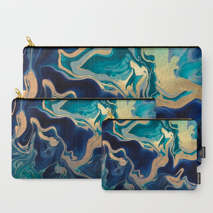 DRAMAQUEEN__GOLD_INDIGO_MARBLE_CarryAll_Pouch_by_Monika_Strigel___Set_of_3