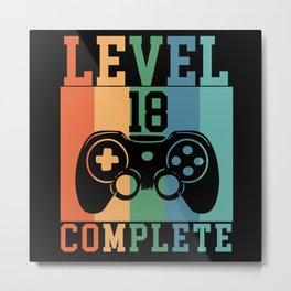 Birthday Level 18 Complete Gaming Metal Print