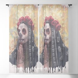 """Katrina"" - Skull girl Sheer Curtain"