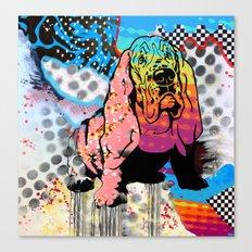 Basset pop art Canvas Print