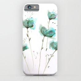 Delicate Cascade Green Blue Watercolor Flowers iPhone Case
