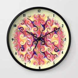 Colorful Seamless Wave Spiral Abstract Pattern Wall Clock