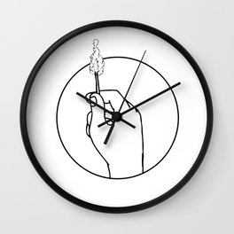 Hand Holding Burning Matchstick Drawing Wall Clock