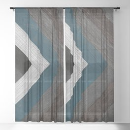 Farmhouse Chevron Wood Pattern, Multicolor Wood Planks, Wood Arrow Pattern Sheer Curtain