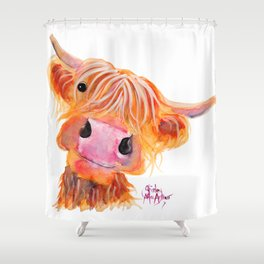 Highland Cow Print Animal NESSIE By Shirley MacArthur Shower Curtain