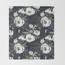 Rustic Floral Print Throw Blanket