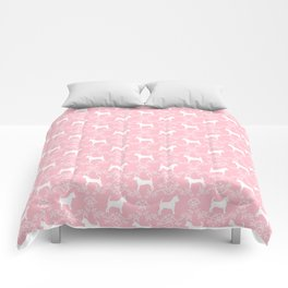 Chihuahua silhouette pink and white florals flower pattern art pattern dog breed Comforters