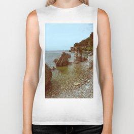 A coastline and a castle Biker Tank
