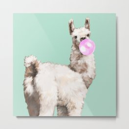 Baby Llama Blowing Bubble Gum Metal Print