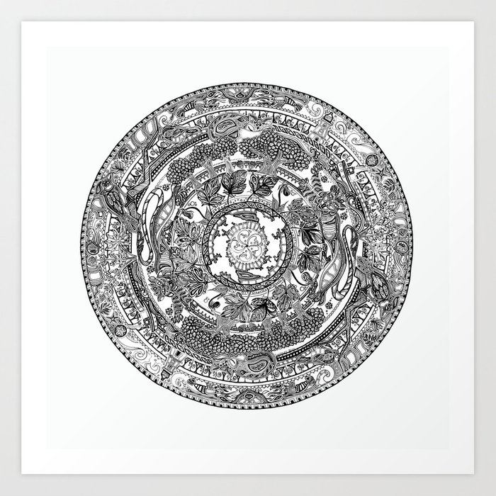 An island mandala pei canada original colors black on white art print