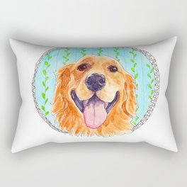 You're Never Fully Dressed without a Smile, Golden Retriever, Whimsical Watercolor Painting, White Rectangular Pillow