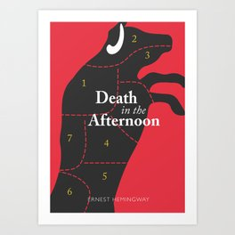 Ernest Hemingway book cover & Poster, Death in the Afternoon, bullfighting stories Art Print