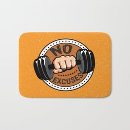 No Excuses Gym Fitness Motivational Quote Bath Mat