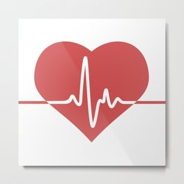 Heart with Cardiogram Metal Print