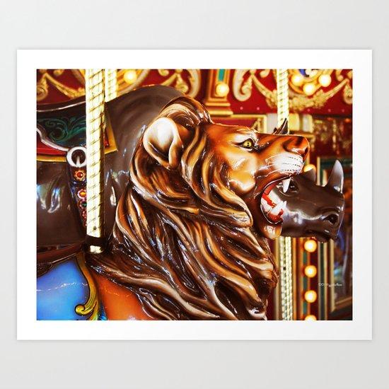 Wild Ride On A Carousel Art Print