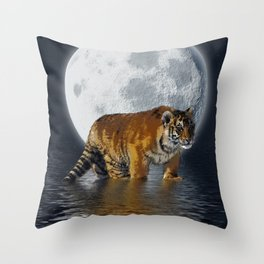 Moonlite Night Tiger Throw Pillow
