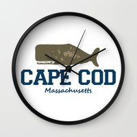 cape cod Wall Clocks featuring Cape Cod by America Roadside