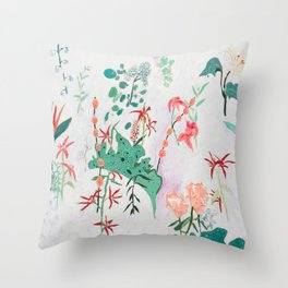 Abstract Jungle Floral on Pink and White Throw Pillow