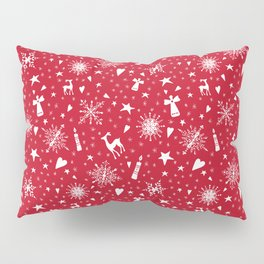 Merry Christmas holiday snowflakes, hearts, angels, deer on red Pillow Sham