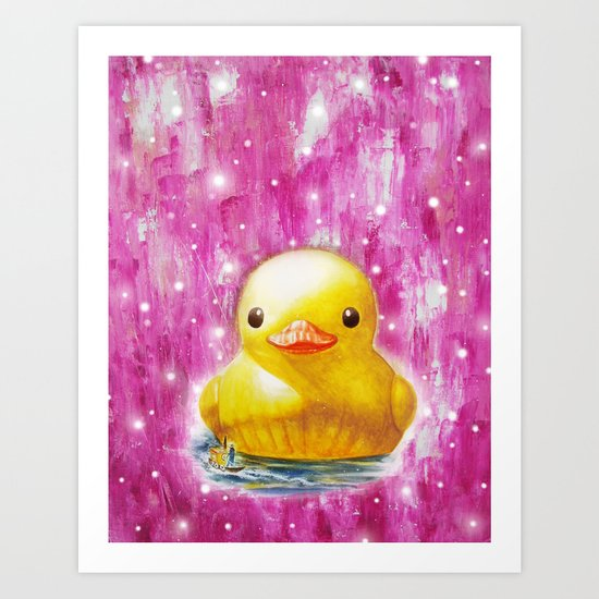 Giant Duck pink Art Print