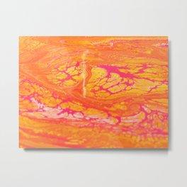 Retro Hemoglobin - Dirty Pour Acrylic Painting Metal Print