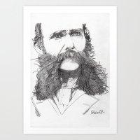 moustache Art Prints featuring Moustache by Paul Nelson-Esch Art