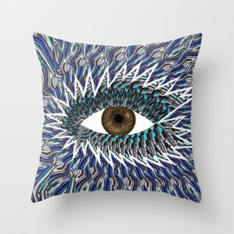 Origami Chakra Eye - Chocolate Brown Black Throw Pillow