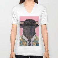 spanish V-neck T-shirts featuring Spanish Bull by Rachel Waterman