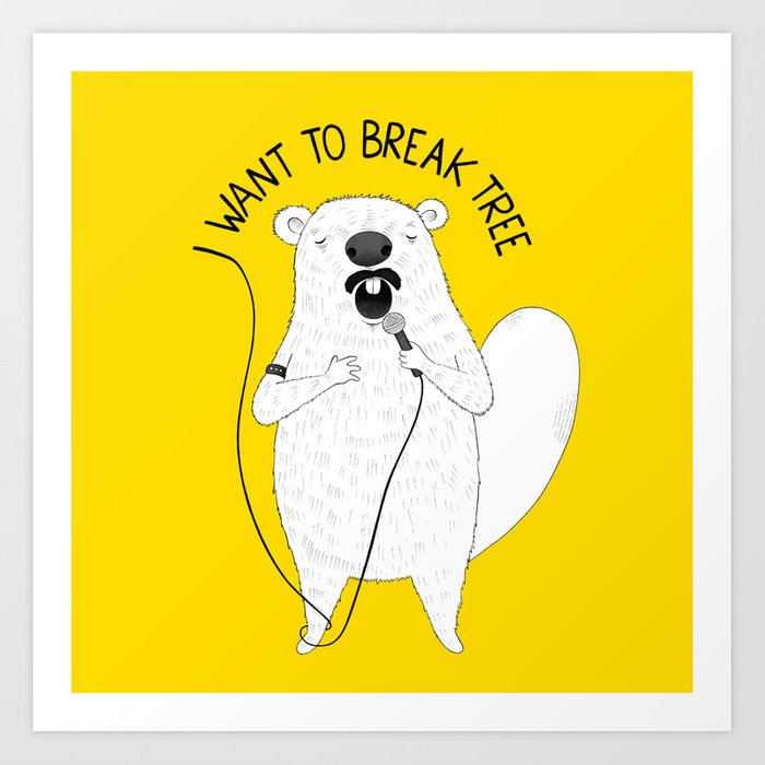 Beaver singing Queen | Animal Karaoke | Illustration Art Print
