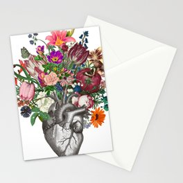 Anatomical heart and flowers Stationery Cards