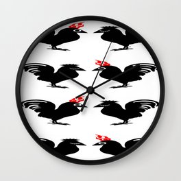 bbnyc rooster/hen couple Wall Clock