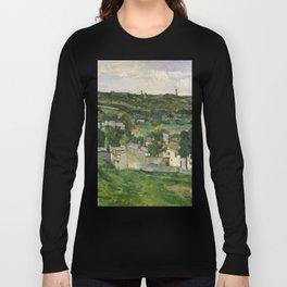 Stolen Art - View of Auvers-sur-Oise by Paul Cezanne Long Sleeve T-shirt