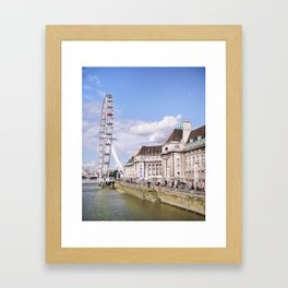Postcard Picture of the London Eye & The Thames, bright blue tint Framed Art Print