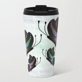 Purple and Blue Butterflies  Metal Travel Mug