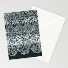 lace border with floral and geo mix monochrome Stationery Cards