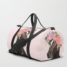 Horse with Flowers Crown in Pink Duffle Bag