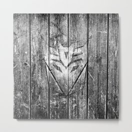 Decepticon Monochrome Wood Texture Metal Print