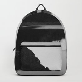 Lake mountain. At sunset Backpack