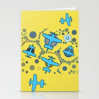 airplanes Stationery Cards featuring blue airplanes by Isabella Asratyan